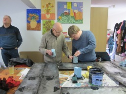 Michael and Chris decorating the wall panels